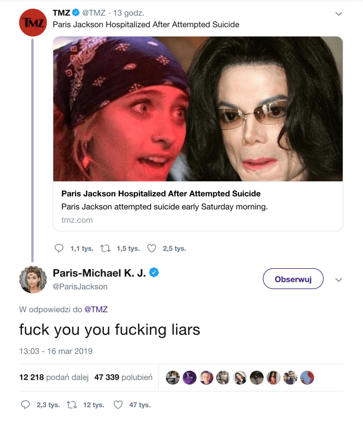 """Paris Jackson: """"Pierd**cie się jeb*ni kłamcy"""""""